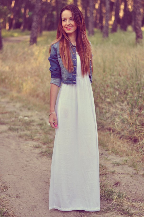 White Maxi Dress With Denim Jacket