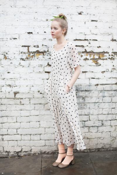 White polka dot sheer dress