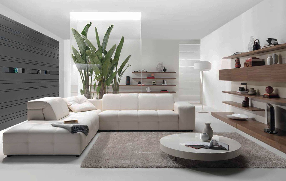 Contemporary Living Room Design With Wooden Wall Sections