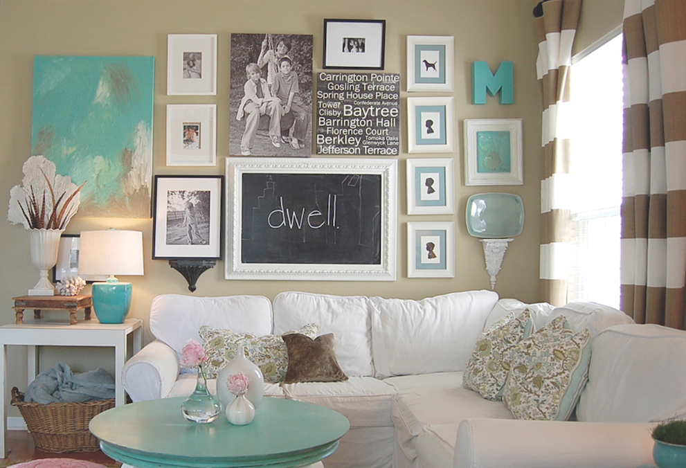 Home Decor With Cool Color Combination And Wall Frames